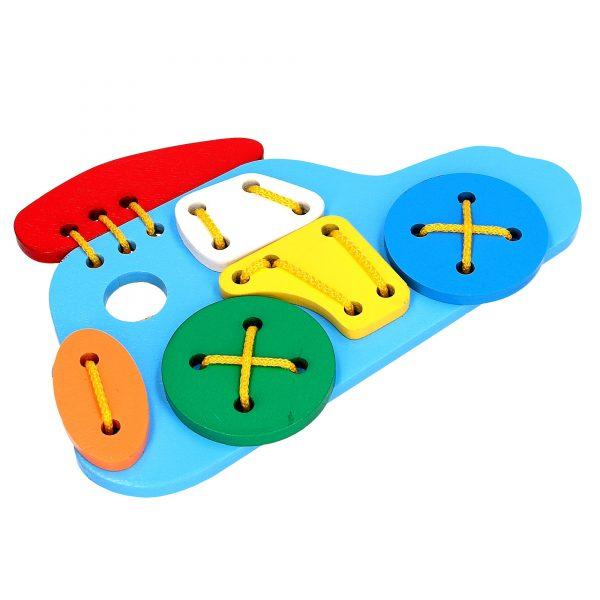 Развивающая деревянная игрушка Шнуровка Джип К103 Komarovtoys