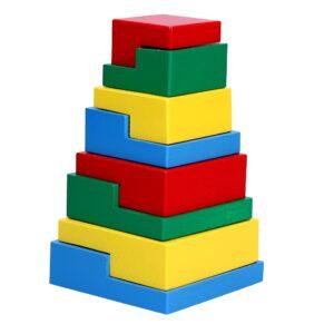 Дерев'яна розвиваюча іграшка Пірамідка головоломка 8ел. А332 Komarovtoys