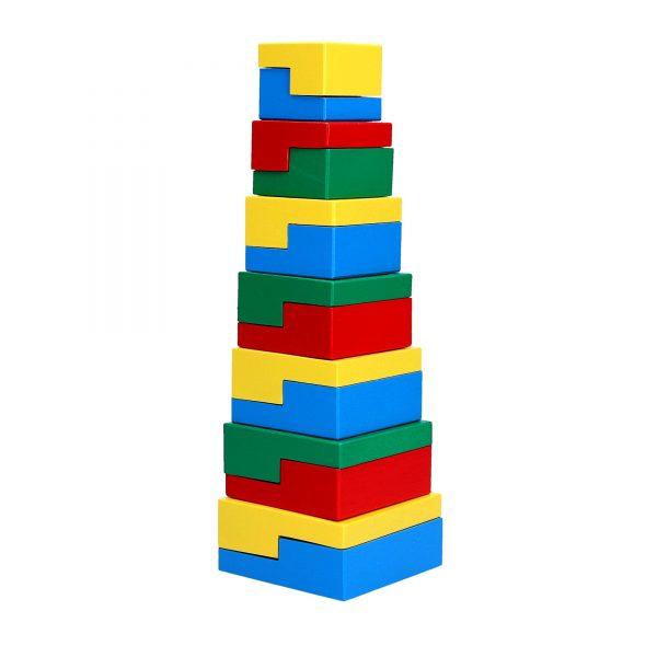 Деревянная развивающая игрушка Пирамидка Головоломка 14эл. А334 Komarovtoys