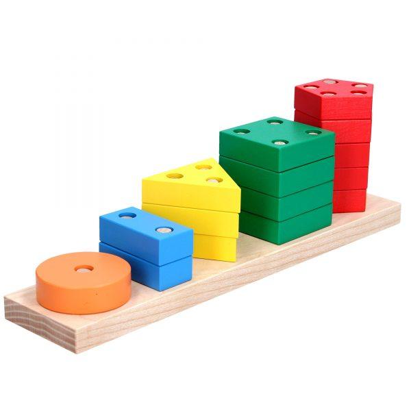 Дерев'яна розвиваюча іграшка Пірамідка геометрична Рахунок. А337 Komarovtoys