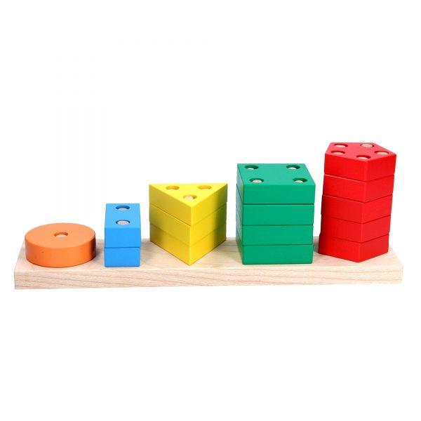 Деревянная развивающая игрушка Пирамидка геометрическая Счет. А337 Komarovtoys
