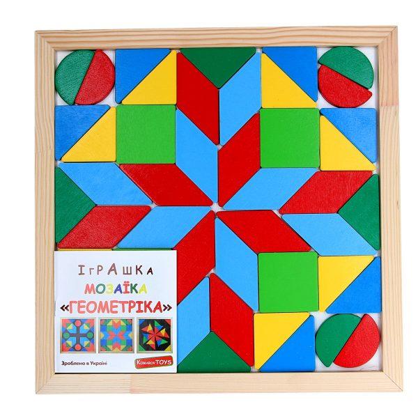 Деревянная развивающая игрушка Мозаика Геометрика 4 фигуры. А346 Komarovtoys