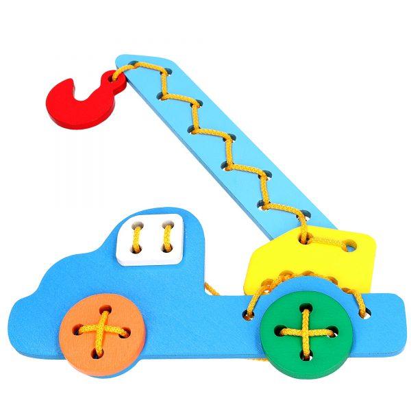 Развивающая игрушка К105. Шнуровка Автокран Komarovtoys