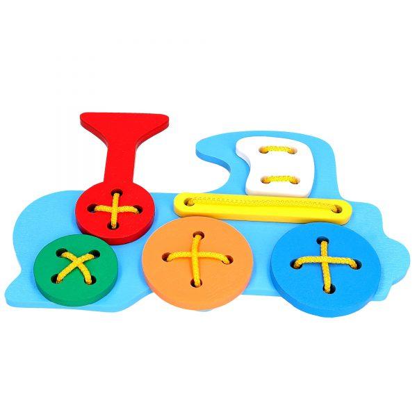 Развивающая игрушка К104. Шнуровка Паровоз Komarovtoys