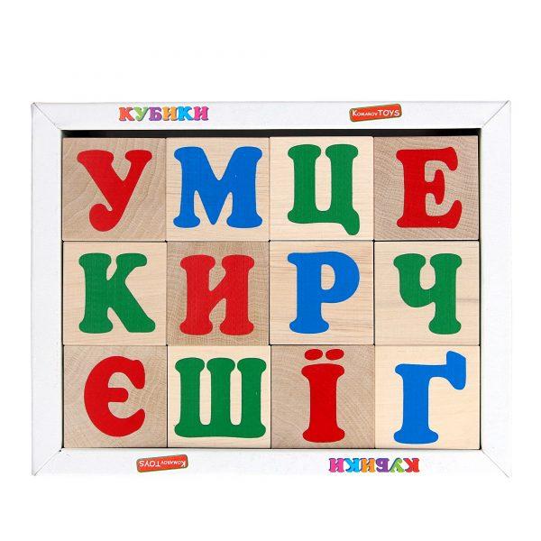 Деревянная развивающая игрушка Кубики Украинский алфавит. Т601 Komarovtoys