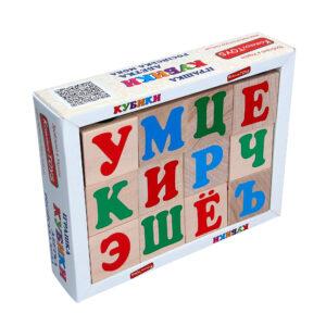 Дерев'яна розвиваюча іграшка Кубики Російська абетка. Т602 Komarovtoys