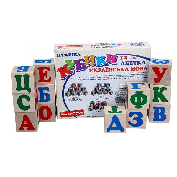 Wooden educational toy Cubes Ukrainian alphabet. T601 Komarovtoys