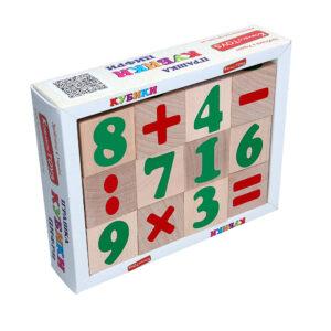 Дерев'яна розвиваюча іграшка Кубики Цифри та знаки. Т604 Komarovtoys