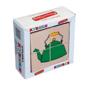 """Дерев'яна іграшка T605. Кубики. Склади малюнок """"Посуд"""" 4шт. Komarovtoys"""