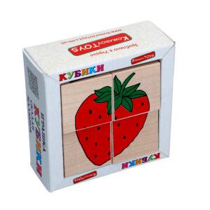 "Дерев'яна іграшка T606. Кубики. Склади малюнок ""Фрукты ягоди"" 4шт. Komarovtoys"