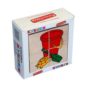 """Дерев'яна іграшка T608. Кубики. Склади малюнок """"Іграшки"""" 4шт. Komarovtoys"""