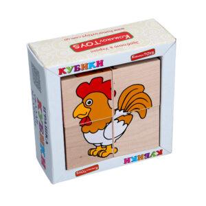 """Дерев'яна іграшка T609. Кубики. Склади малюнок """"Свійські тварини"""" 4шт. Komarovtoys"""