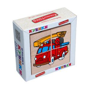 """Дерев'яна іграшка T610. Кубики. Склади малюнок """"Транспорт"""" Komarovtoys"""