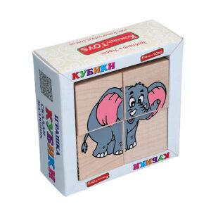 """Дерев'яна іграшка T611. Кубики. Склади малюнок """"Звірі Африки"""" Komarovtoys"""