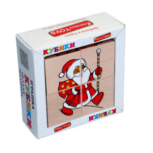 """Дерев'яна іграшка T612. Кубики. Склади малюнок """"Новий рік"""" Komarovtoys"""