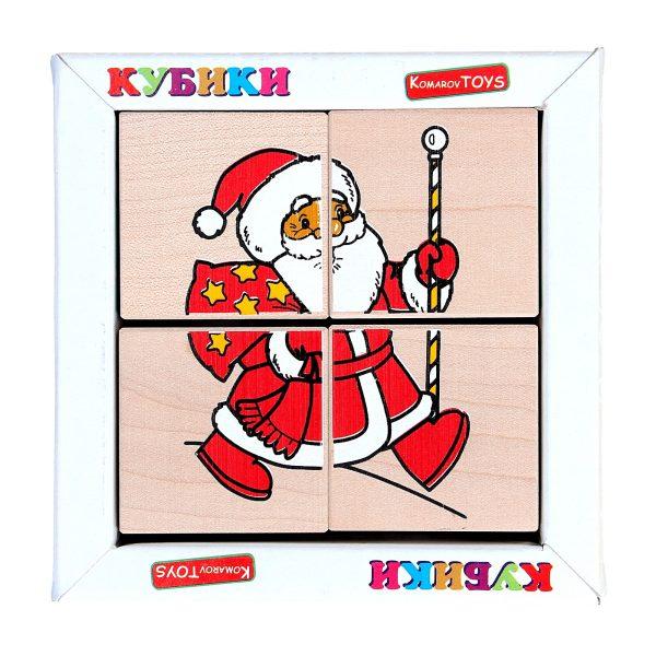 """Деревянная игрушка T612. Кубики. Сложи рисунок """"Новый год"""" 4шт. Komarovtoys"""