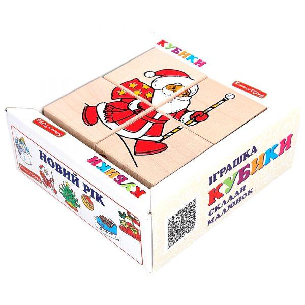 """Wooden toy T612. Cubes set. Puzzle """"New year"""" 4pcs. Komarovtoys"""