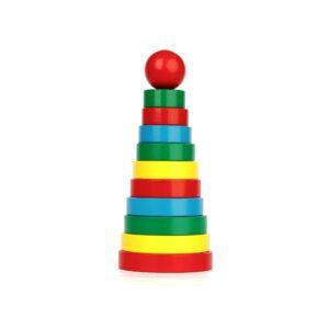 A321. Дерев'яна розвиваюча іграшка Набір. Пірамідка 11 елементів. Komarovtoys
