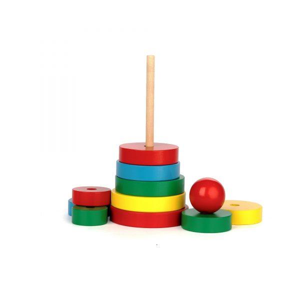 A321. Деревянная развивающая игрушка. Пирамидка 11елементов. Komarovtoys