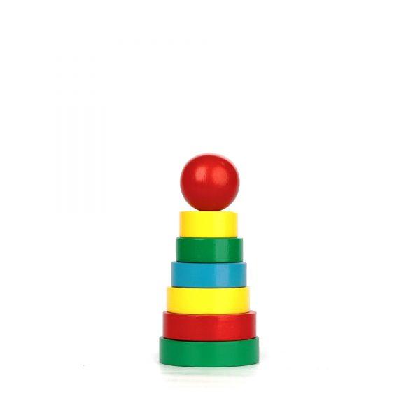 A323. Дерев'яна розвиваюча іграшка . Пірамідка 7 елементів. Komarovtoys