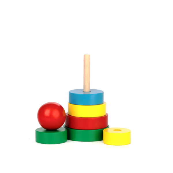 A323. Деревянная развивающая игрушка. Пирамидка 7элементов. Komarovtoys