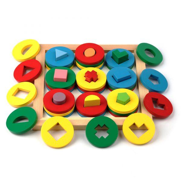 A329. Деревянная развивающая игрушка. Игра интересные формы. Komarovtoys