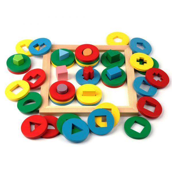 A329. Дерев'яна розвиваюча іграшка Набір. Гра Цікаві форми. Komarovtoys