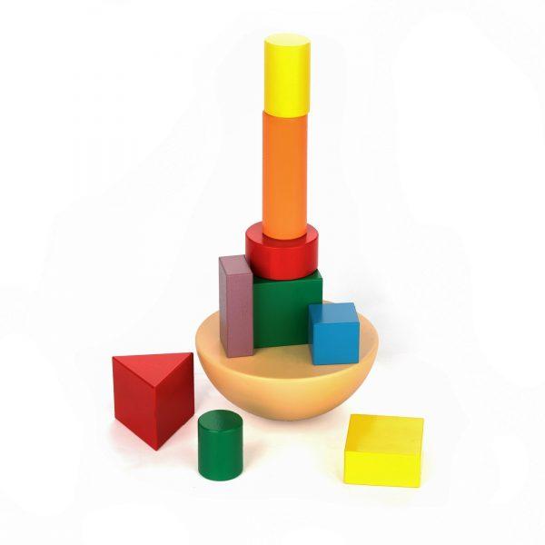 A351. Деревянная развивающая игрушка. Балансир Кривая башня. Komarovtoys