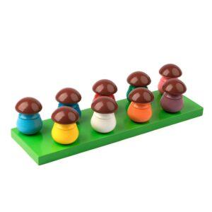 A379. Дерев'яна розвиваюча іграшка Набір. Гра-сортер Грибочки. Komarovtoys