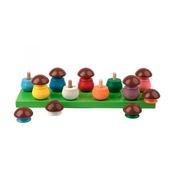 A379. Wooden educational aids.Mushrooms game . Komarovtoys