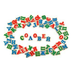 J704. Дерев'яна розвиваюча іграшка Набір.Український алфавіт на магнітах 72 елементи. Komarovtoys