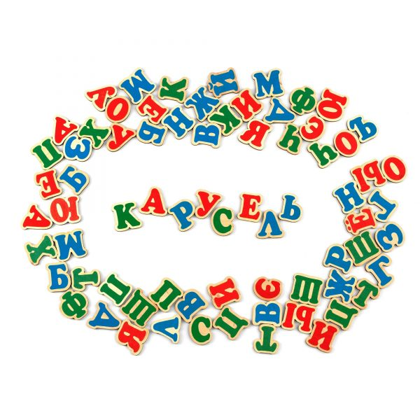 J705. Дерев'яна розвиваюча іграшка Набір. Російська абетка на магнітах. Komarovtoys