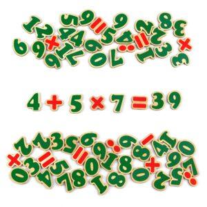 J706. Дерев'яна розвиваюча іграшка Набір. Цифри та знаки на магнітах. Komarovtoys