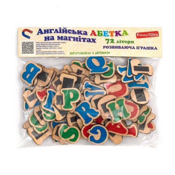 J707. Деревянная развивающая игрушка. Английский алфавит на магнитах. Komarovtoys