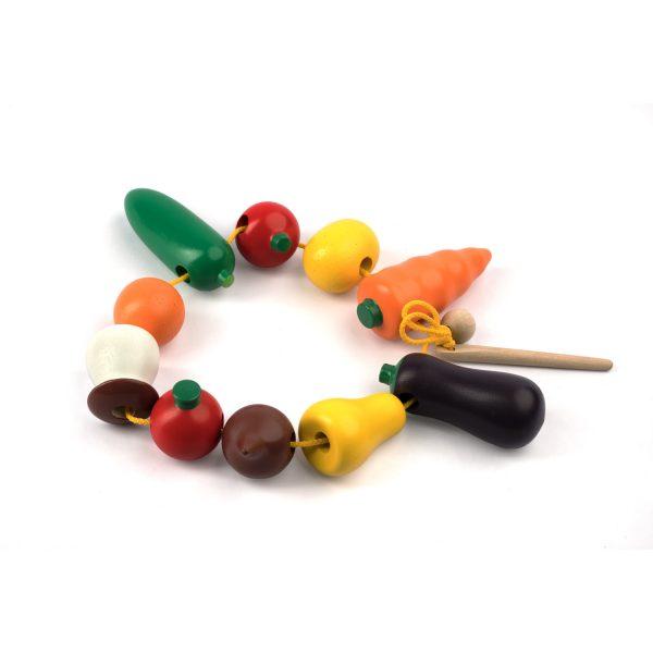 К141. Деревянная развивающая игрушка. Шнуровка Фрукты - овощи. Komarovtoys