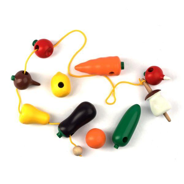 К141. Wooden educational aids.Lacing fruit vegetables. Komarovtoys