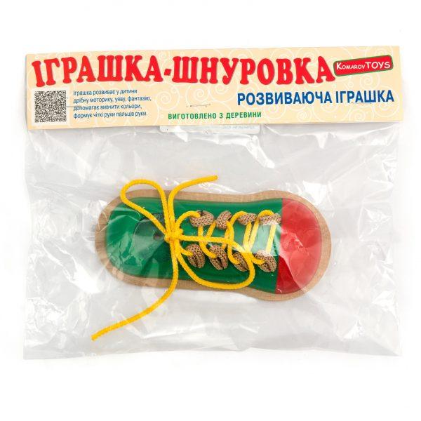 К147. Деревянная развивающая игрушка.Шнуровка Кед. Komarovtoys