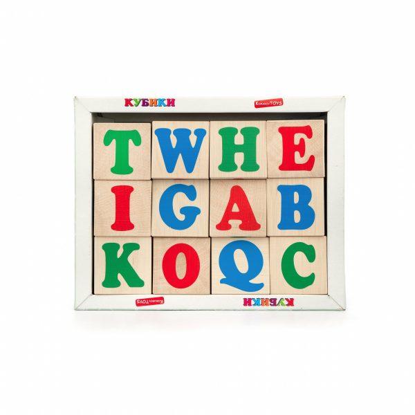 Т603. Деревянная развивающая игрушка.Кубики английский алфавит 12 шт. Komarovtoys