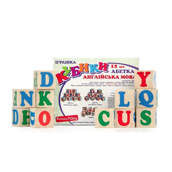 Т603. Wooden educational aids. English cubes. Komarovtoys