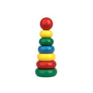 A301. Дерев'яна розвиваюча іграшка . Пірамідка 7 елементів. Komarovtoys
