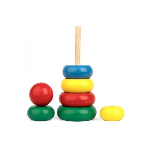 A377. Деревянная развивающая игрушка. Пирамидка 7 елементов. Komarovtoys