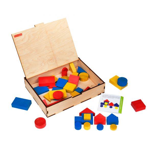A378. Дерев'яна розвиваюча іграшка Набір. Блоки Дьєніша. Komarovtoys