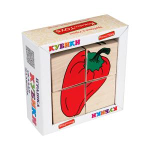 Т607. Деревянная развивающая игрушка. Кубики Овощи. Komarovtoys