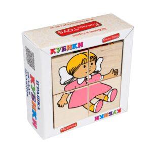 Т608. Деревянная развивающая игрушка. Кубики Игрушки. Komarovtoys