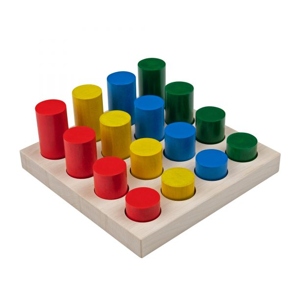 A312. Деревянная развивающая игрушка. Цветные цилиндры. Komarovtoys