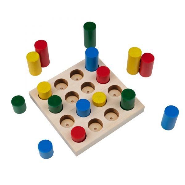 A312. Дерев'яна розвиваюча іграшка Набір.Кольорові циліндри. Komarovtoys