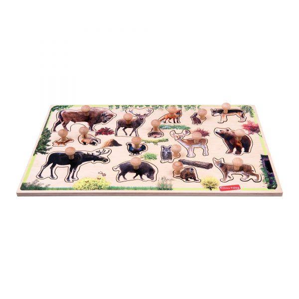 Т630. Дерев'яна розвиваюча іграшка . Рамка вкладка Лісові звірі України Komarovtoys