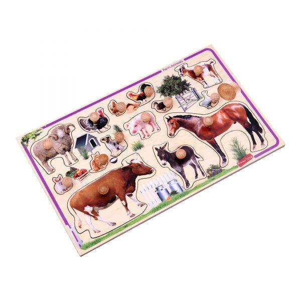 Т631. Дерев'яна розвиваюча іграшка Набір. Рамка-вкладка Свійські тварини. Komarovtoys