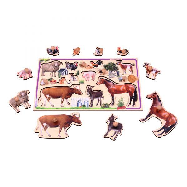 Т631. Деревянная развивающая игрушка. Рамка-вкладыш Домашние животные Komarovtoys