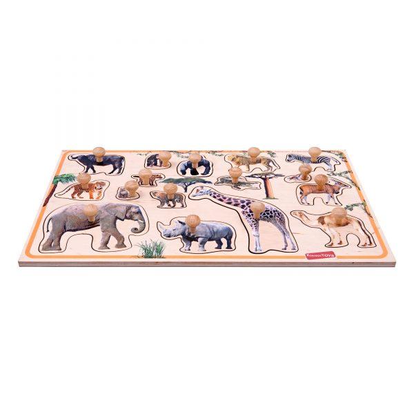 Т632. Деревянная развивающая игрушка. Рамка-вкладыш Звери Африки.Komarovtoys